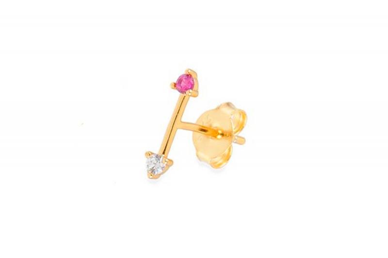 pendiente mini flecha rosa