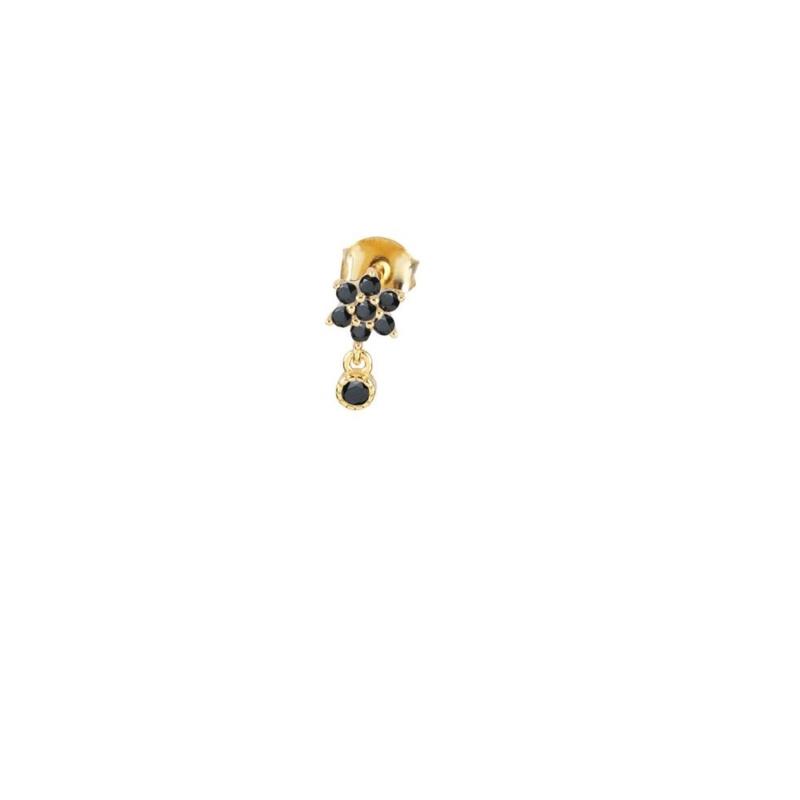 Pendiente Mini Ross Negro con acabado dorado