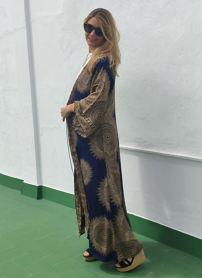 Kimono Seda Azul Marino