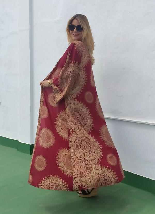 Kimono Seda Burdeos en talla única