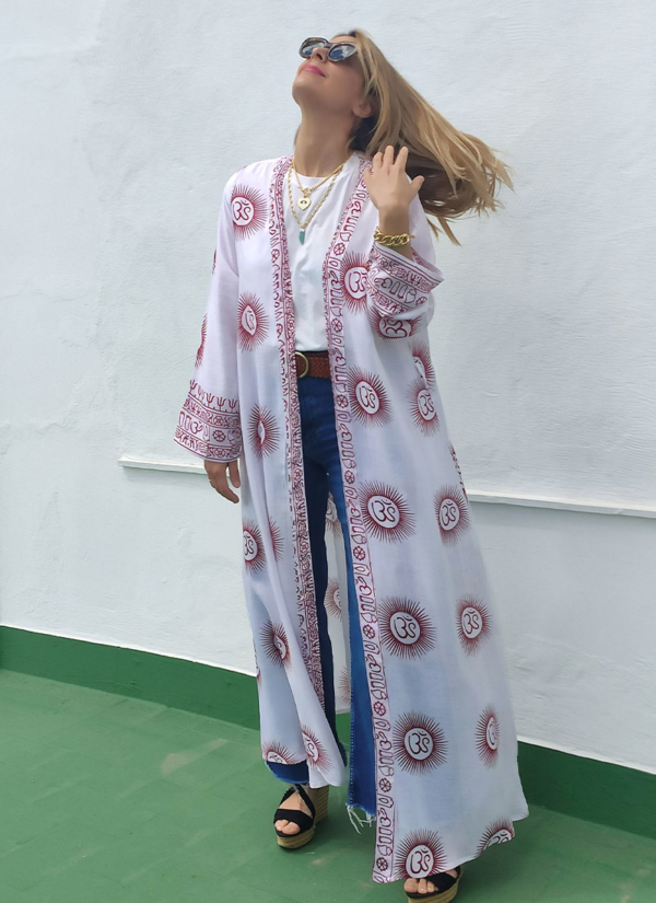 Kimono Blanco y Burdeos talla única