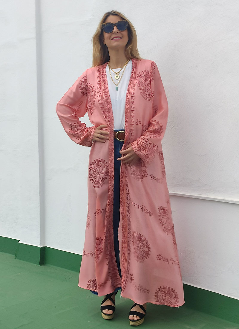 Kimono Coral de corte largo