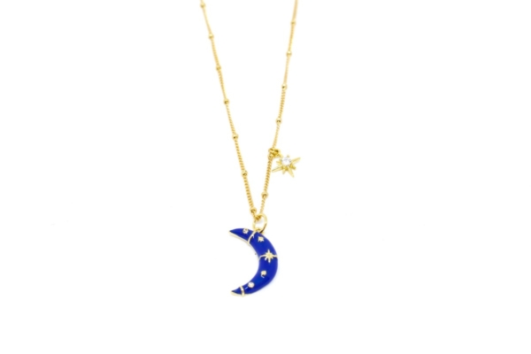 Gargantilla Luna Azul en dorado