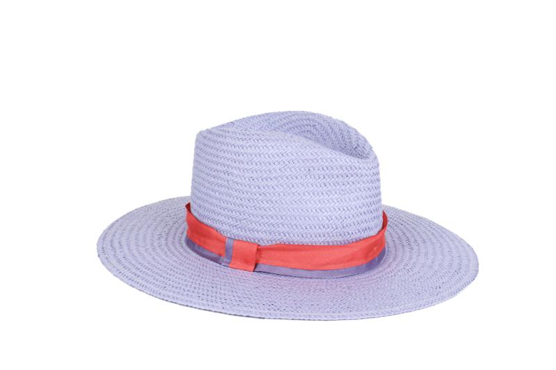 Sombrero Malva con cinta coral