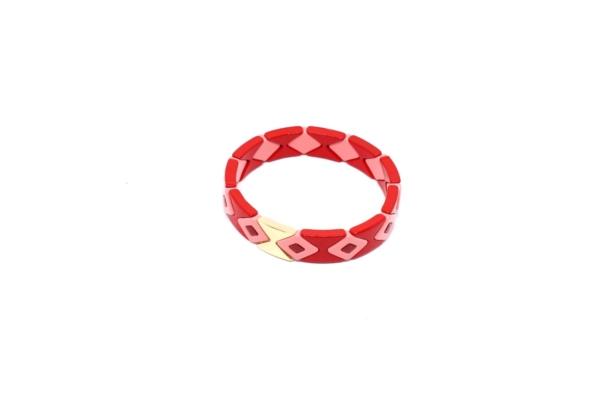 Pulsera Esmaltada Roja con diseño étnico