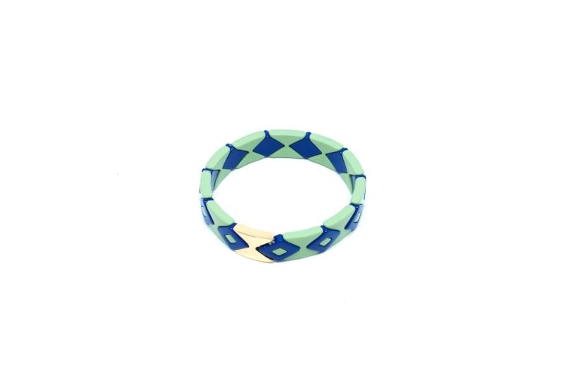 Pulsera Esmaltada Agua y Azul, elástica y esmaltada