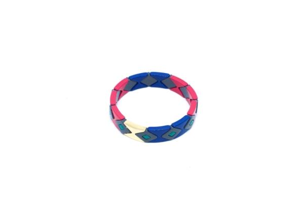 Pulsera Esmaltada Rosa y Azul, accesorio múltiples colores