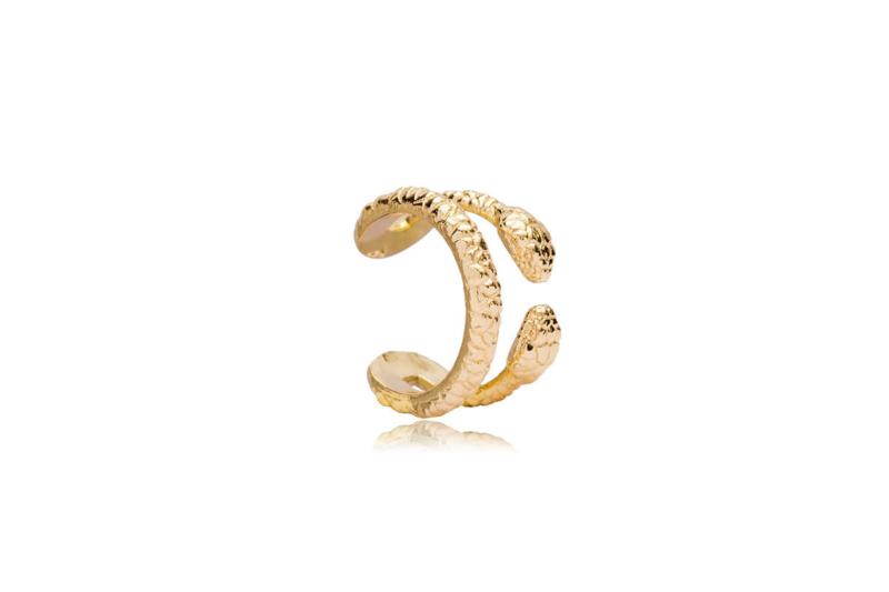 Ear Cuff Serpiente Doble en Dorado